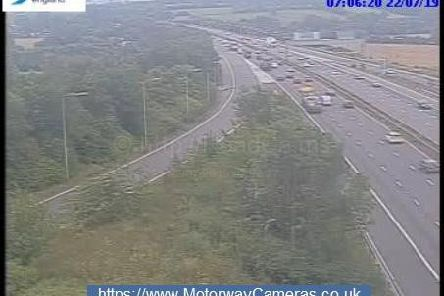 Junction 24 southbound of M1.