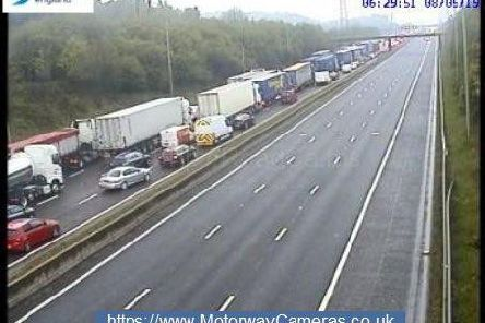 The M62 is closed in both directions (Photo: Highways England).