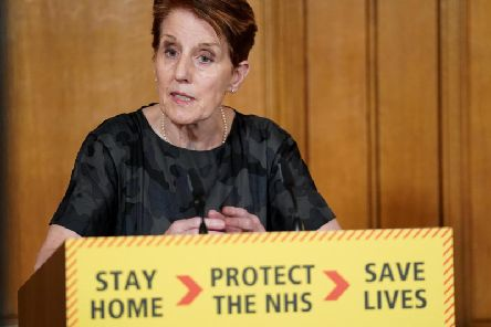 Public Health England medical director Yvonne Doyle answering questions from the media via a video link during a media briefing in Downing Street. Photo: PA