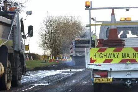 Roadworks on the A1 in Northumberland.
