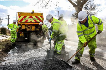 Pothole patching in Northumberland.