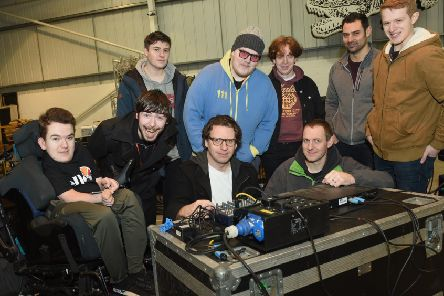 Students from Middlesbrough College were shown around Nitelites in North Shields by technician Andy Murray and tour manager Ross Lewis (both front row). Picture by Doug Moody Photography.
