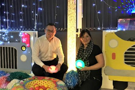 Simeon Ripley, chief executive, and Louise Cervantes, Children & Young Peoples Manager, in the Linskill Sensory Room.