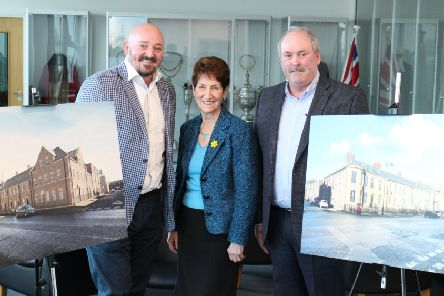 Graham Anderson, chairman, and Peter Young, managing director, of Compass Developments with Elected Mayor, Norma Redfearn CBE.