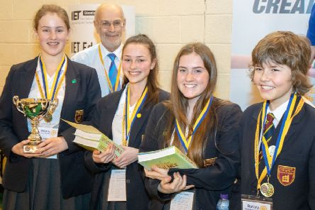 Kings Priory School pupils Megan Smith, Grace Smith, Neave Berry, Isaac Wass with Stewart Atkin, Rotary District Governor. Picture by Tony Rundle Photography.