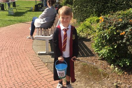 Young fundraiser, four-year-old Cameron Fraser, collecting money for Break the Silence at Royal Quays Shopping Outlet.