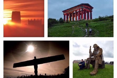 Clockwise from top left, Durham Cathedral, Penshaw Monument, Tommy and the Angel of the North.
