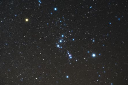 What to look for: The rectangular arrangement of the corner stars of Orion, with the three stars of the belt across the middle.