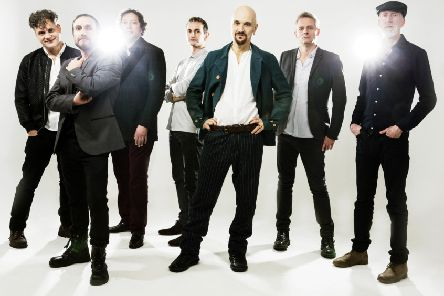 Veteran alternative rock act James, featuring, centre, singer Tim Booth.