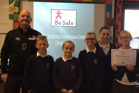 Year 6 pupils at Eastlea Primary School with David Burns, from Be Safe.