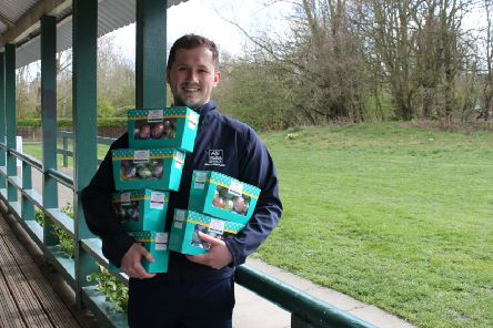 Jordan Spurling, Northumberland Wildlife Trust volunteer, with the donated eggs.