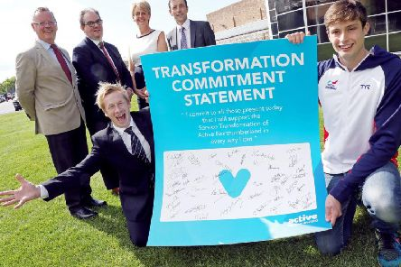 Leader of NCC, Coun Peter Jackson, David Hall, chair of the Board of Active Northumberland, Coun Cath Homer, Cabinet member for Leisure, Mark Tweedie, Chief Executive of Active Northumberland, Front Commonwealth gymnast Craig Heap and Commonwealth Swimmer David Cumberlidge.