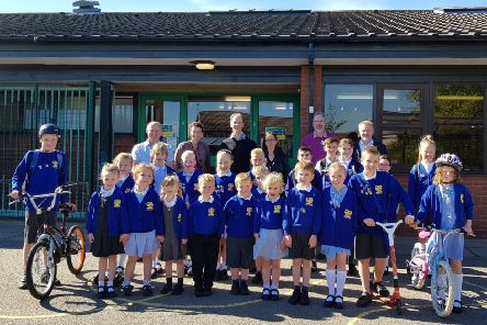 Staff, students and parents of Northburn Primary School, in Cramlington, with Coun Wayne Daley during Walk to School Week.