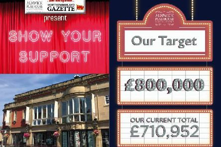 The latest total in the appeal to raise �800,000 for refurbishments at the Alnwick Playhouse.
