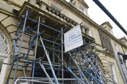 Scaffolding at the White Swan Hotel in Alnwick. Picture by Jane Coltman