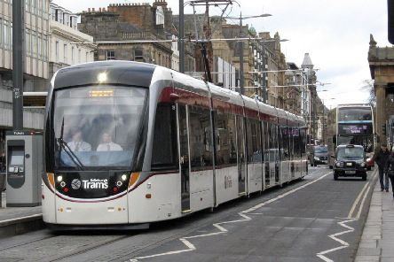 An Edinburgh tram in Princes Street.