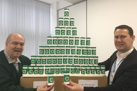 Adrian Lazenby from the Lions Clubs International in the North East handed over 1,000 bottles to Mark Johns, the head of engagement and diversity at NEAS.