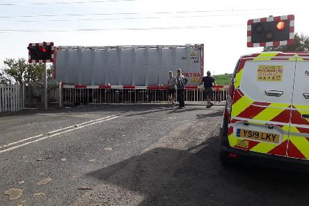 The train blocking Beal level crossing. Picture by David Morton, Lindisfarne Mead