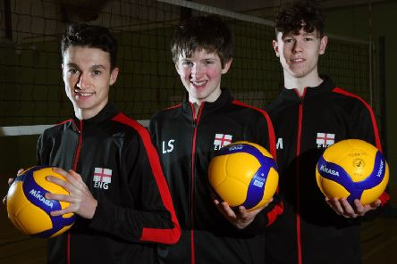 Volleyball England talent pathway place for Tadcaster Grammar pupil Will Miller, right, and York Volleyball Club teammates Ollie Quick, left, and Luke Smith. Picture by David Harrison.