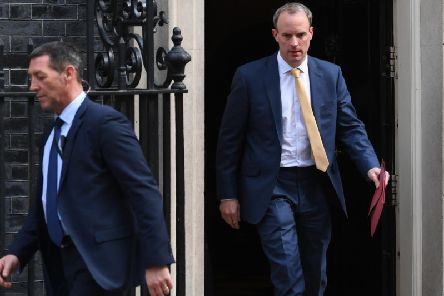 Foreign Secretary Dominic Raab leaving 10 Downing Street, London, as Prime Minister Boris Johnson remains in hospital following his admission on Sunday with continuing coronavirus symptoms. Photo: PA