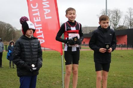 Stan Stephenson finished first in the Under 13s race at the county championships with Harry Smith in second place