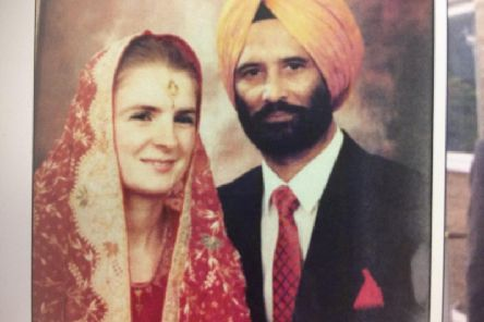 Dr Devinder Sidhu and his wife Julie on their wedding day in 1992.