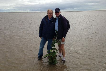 Cedric Robinson (left) and Lindsay Sutton in Morecambe Bay