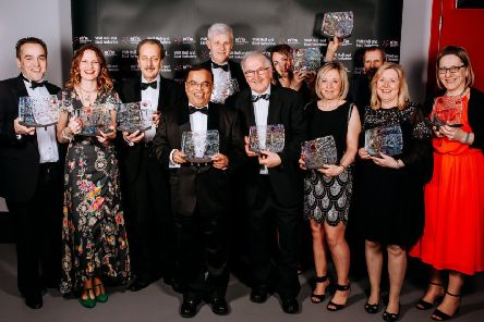 A collective cheer from all the winners at last year's REYTAs dinner.
