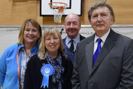 Sir Greg Knight, right, is pictured with his team at Driffield Sports Centre as the results were announced.