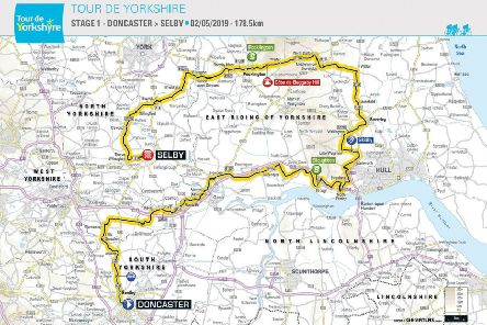 Stage 1 of the Tour de Yorkshire will see riders come through the area on Thursday 2 May.