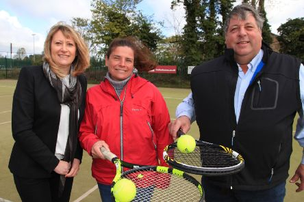 Linden Homes sales manager Julie Hubbard with Pocklington Tennis Club junior co-ordinator Melinda Watson and chairman Chris French.