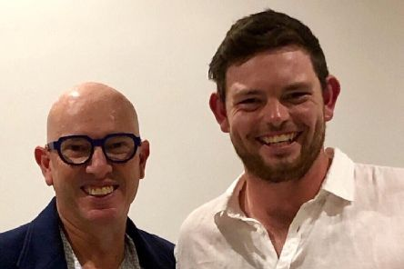 Tyson Freeman (right) with Giles Foster Scholarship founder and patron Stuart Giles.