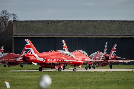 The Red Arrows landed at RAF Linton-on-Ouse near York this week