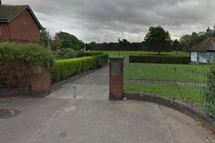 The entrance to the playing fields in Castleford