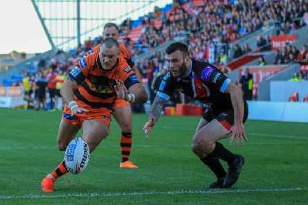 Cheyse Blair goes close to a try for Castleford Tigers at Salford. Picture: Simon Hall