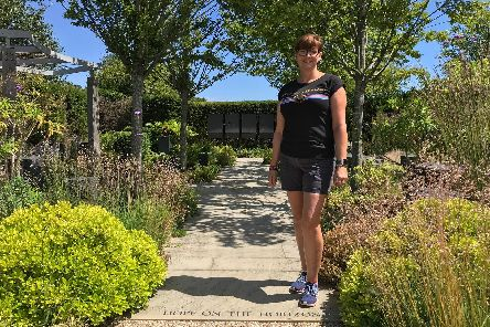 Clare Brumby in the Hope on the Horizon Garden at the Help for Heroes Recovery Centre in Colchester