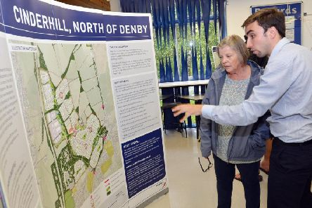 Resident Susan Whitmore discussing the plans with Matthew Genn.