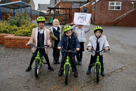 Children at Somercotes Infant and Nursery School took part in a charity bike ride.