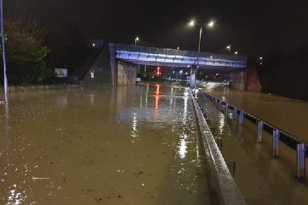 Storm Dennis grips Derbyshire with flooding causing road closures including this area near the A617 Hasland bypass, in Chesterfield.