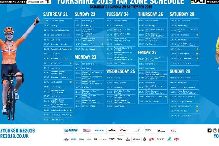 The actual day by day schedule of activities and live entertainment at the Harrogate Fan Zone during the UCI Road World Championships.
