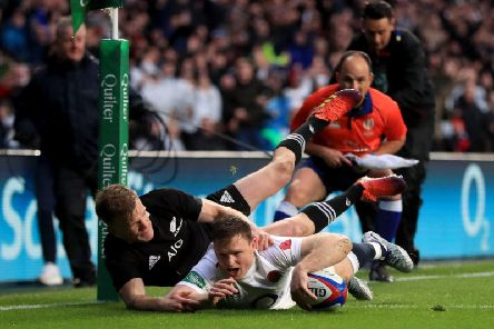 Chris Ashton goes over for his opening try after just 155 seconds. (Mike Egerton/PA Wire)