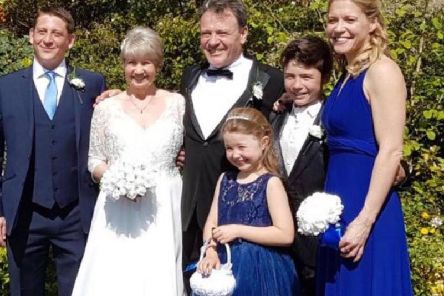 Renewing wedding vows at St Marks Church in Harrogate - Patricia Sutcliffe, second from left, with, from left, her son Adam, who was best man;  her husband John; granddaughter Olivia  who was a flower girl; grandson Lucas, who walked Patricia down the aisle;  and daughter Nikki who was maid of  honour.