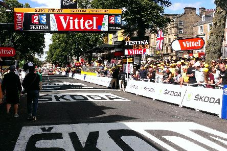 Flashback to 2014 and the finishing line of the Harrogate leg of the Tour de France on Parliament Street/West Park.