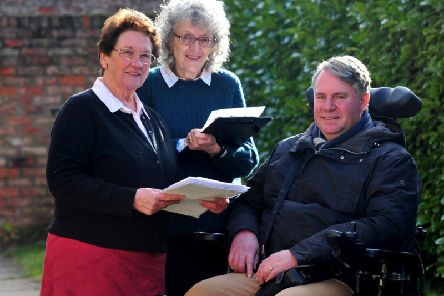A meeting of Ripon Physical and Sensory Impairment Group (RipPSI). Pictured from left: Lynette Barnes, Lindy Webb and Andrew Newton. Picture by Gerard Binks Photography.