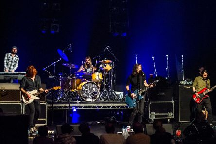 On stage at Harrogate Theatre - UK Foo Fighters playing their 'electric' set after the interval. Featured are Nick Wight  (keyboards), Jamie Valentine (guitar), Alex Bailey  (drums) Jay Apperley  (lead vocals) and Arron Warner (bass).