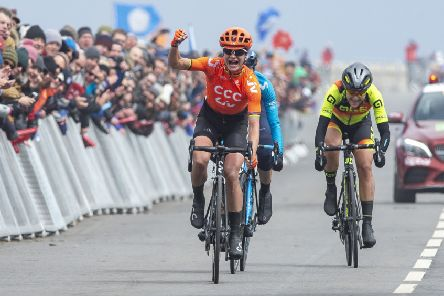 ASDA Womens Tour de Yorkshire Stage 2: Bridlington to Scarborough.'Marianne Vos, Team CCC, win the womens Tour de Yorkshire in Scarborough.'4 May 2019.'Picture Bruce Rollinson