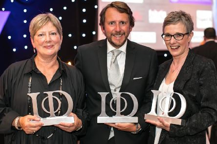 Lesley Wild, James Cain OBE and Jacqui Hall with their awards. (S)