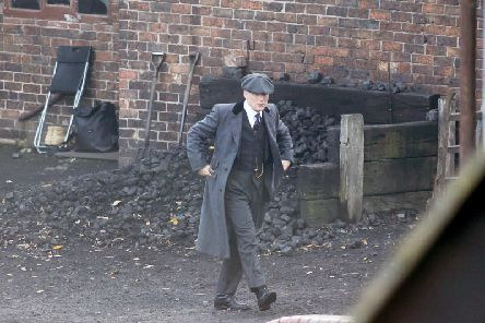 Cillian Murphy as Thomas Shelby on set at the Black Country Museum, West Midlands, for the filming of the fifth series of popular gangster hit Peaky Blinders. Picture: Anita Maric / SWNS.com