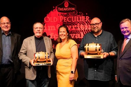 Broadcaster and award host, Mark Lawson; James Patterson, winner of the tenth Theakston Old Peculier Outstanding Contribution to Crime Fiction Award; Sharon Canavar, chief executive of Harrogate International Festivals; and Steve Cavanagh, winner of The Theakston Old Peculier Crime Novel of the Year Award for 2019; and Simon Theakston, title sponsor and executive director of T&R Theakston Ltd