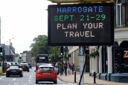 One of the new LED sign in Station Parade, Harrogate hailing the arrival of the UCI Road World Championships next month.